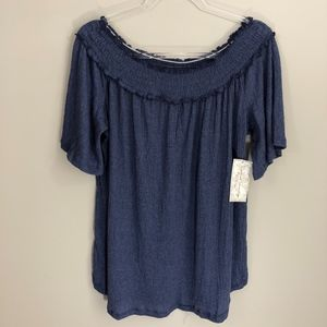 French Laundry Off Shoulder Blue Top 3X NWT